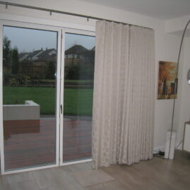 Roman blinds and curtains for dining room and family room in Woodhall, Edinburgh