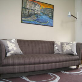 Sofa re-upholstered, roman blinds and cushions