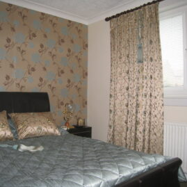 Curtains for two bedrooms with matching bedspreads