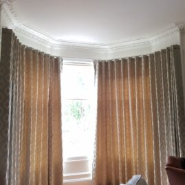 Wave curtains for traditional bay window in Morningside, Edinburgh