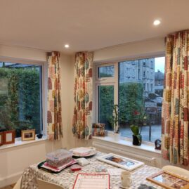 Wave curtains for an open plan dining area