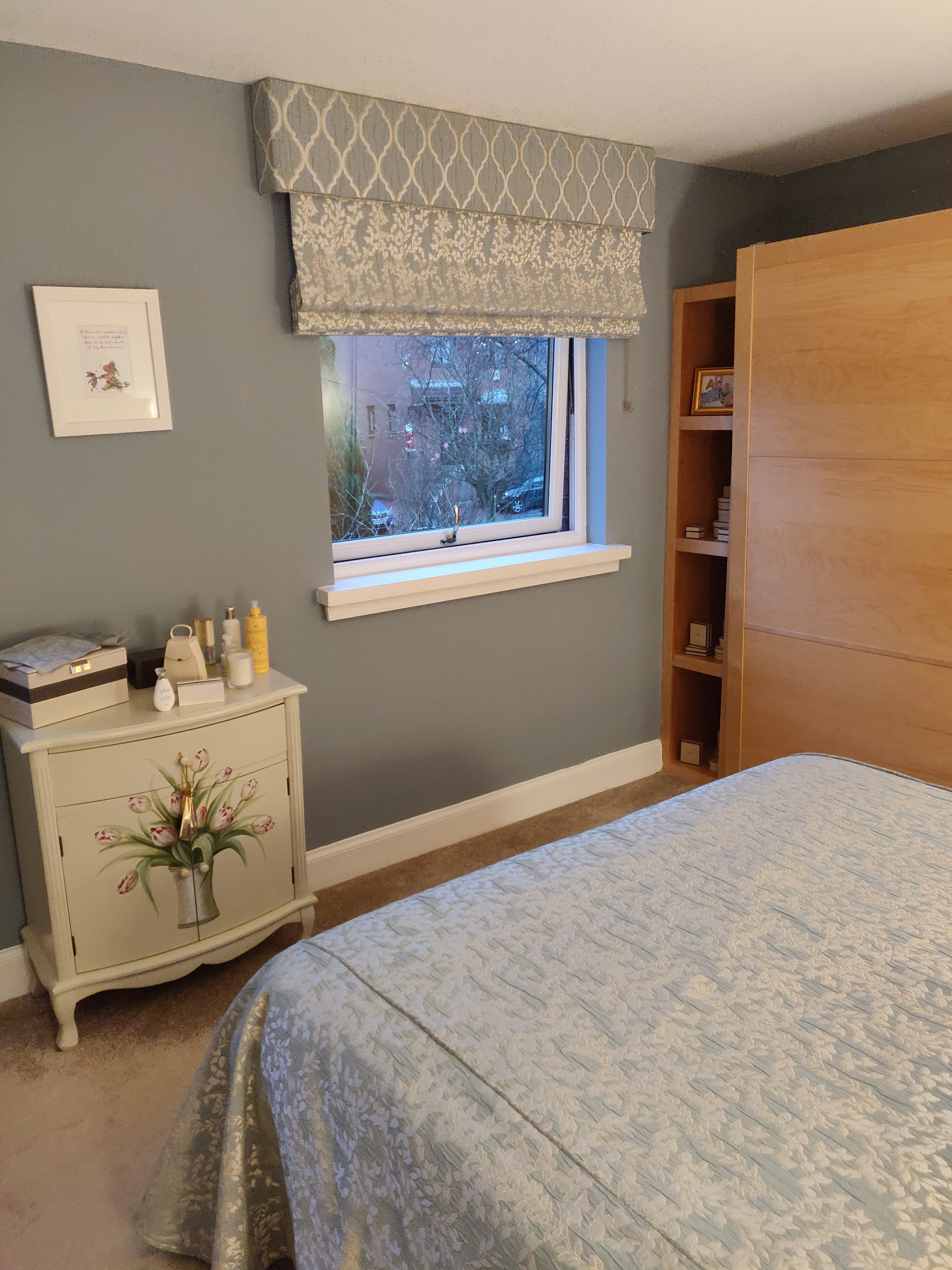 Roman Blinds And Pelmets For A Master Bedroom Complete With Bedspread And Cushions Ines Interiors Because It S Your Home