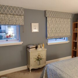 Roman blinds and pelmets for a master bedroom, complete with bedspread and cushions