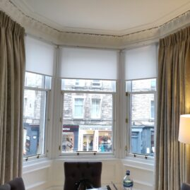 Curtains and Silent Gliss rail for bay window in Stockbridge, Edinburgh
