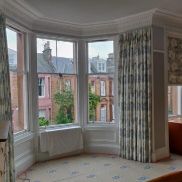 Curtains and roman blind for master bedroom in Morningside, Edinburgh